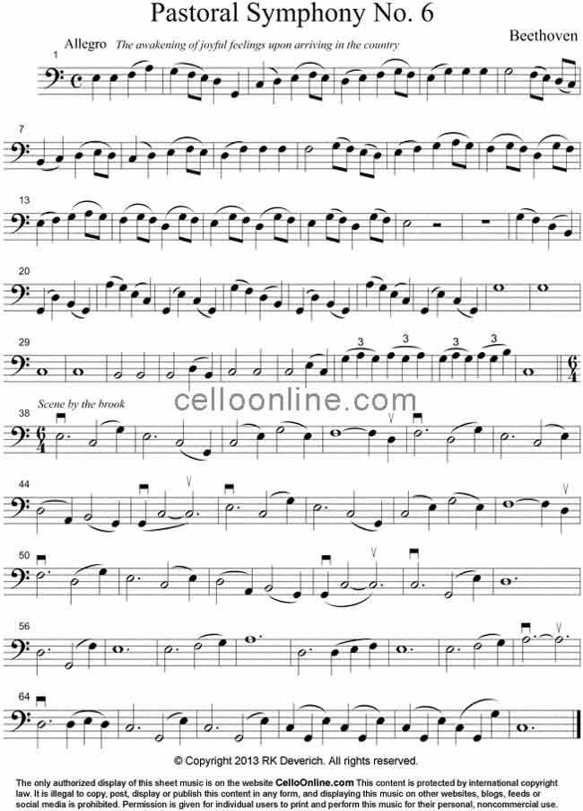 All Music Chords beethoven sheet music : Cello Online Free Cello Sheet Music - Beethoven's Pastoral ...