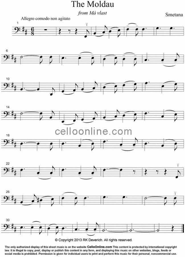 All Music Chords sheet music to print : Cello Online Free Cello Sheet Music - Smetana's