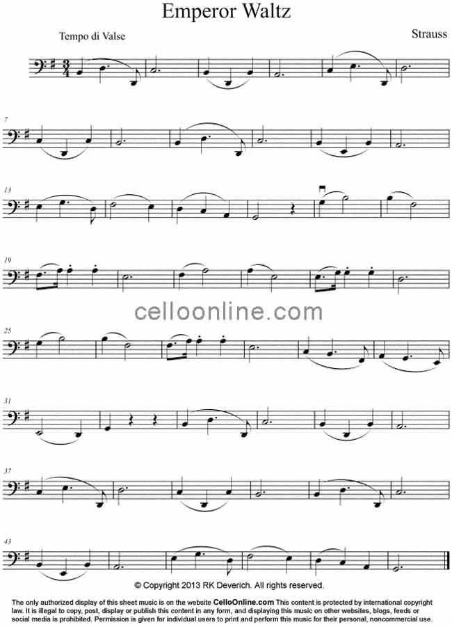 All Music Chords music sheet online free : Cello Online Free Cello Sheet Music - Emperor Waltz by Strauss