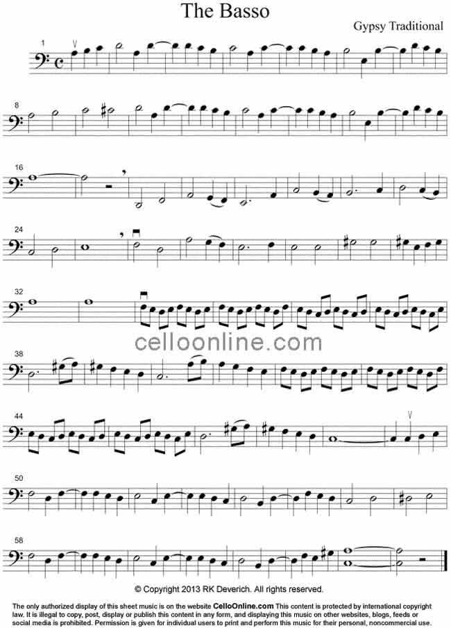 Cello Online Free Cello Sheet Music - The Basso - Gypsy Music