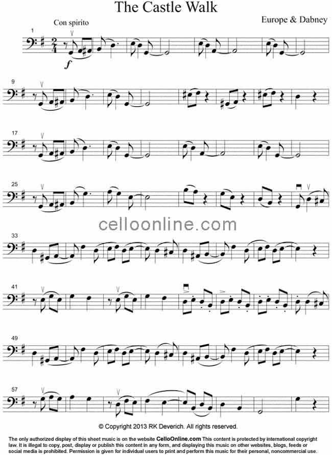 Cello Online Free Cello Sheet Music - The Castle Walk by James ...