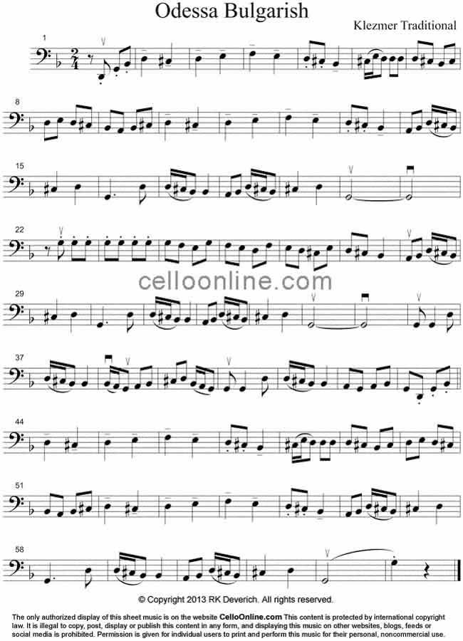 Cello Online Free Cello Sheet Music - Odessa Bulgarish - Klezmer Music